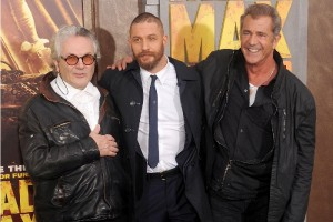 "HOLLYWOOD, CA - MAY 07:  Director George Miller, actors Tom Hardy and Mel Gibson arrive at the Los Angeles premiere of ""Mad Max: Fury Road"" at TCL Chinese Theatre IMAX on May 7, 2015 in Hollywood, California.  (Photo by Gregg DeGuire/WireImage)"