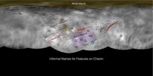 Plutonun en büyük uydusu Charon için geçici isimleri gösteren görüntü New Horizons ekibi tarafından kullanılıyor