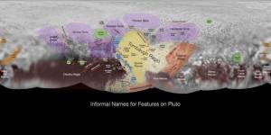 Pluton ile ilgili özellikler için geçici isimleri gösteren görüntü New Horizons ekibi tarafından kullanılıyor
